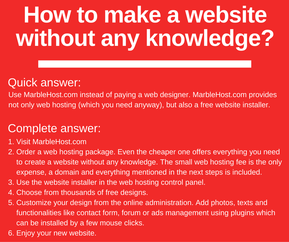 Infographic: How to make a website without any knowledge using a website installer?